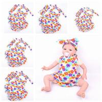baby dress knitting pattern - 2016 New Summer Baby headband Girls Dresses Romper plus Cross headband combination Set Multicolor flower Pattern Kids Girl knit Dress skirt