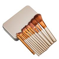 Cheap Professional Makeup Brushes Sets 12 Pcs Iron Box Brush Set Makeup Tools Long Wooden Handle Synthetic Hair Makeup Brush Free Shipping