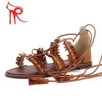 Wholesale Sandals Woman Shoes China - China Rome shoe manufacturing Europe 2016 comfort women shoes latest flat rivet tassel cross strap sandals