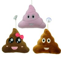 Wholesale Poops Emoji Plush Keychains cm Big Pink Brown Pooping Shit Key Ring Chain Toy Bag Stuffed Pendants with Suction Cups Party Promotion Gift