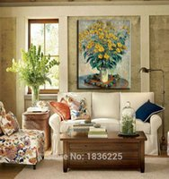 Cheap Hand painted modern flower oil paintings canvas picture sunflower oil modern paintings home decor for home interior decorator