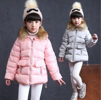 Wholesale Winter wadded jacket outerwear fashion child cotton padded jacket thickening medium long cotton padded coat colors