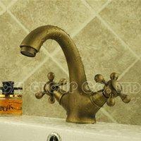 antique auto accessories - Antique Brass Basin Faucet Basin Mixer Single Hole Antique Water Tap Faucet Bathroom Bathroom Accessories