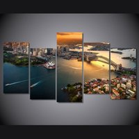 arabic posters - 5 Panel HD Printed Sydney Australia Cityscape Painting on canvas room decoration print poster picture canvas arabic calligraphy paintings