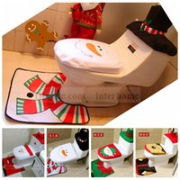 bathroom lid covers - Christmas Toilet Seat Cover XMAS Santa Rug Set Santa Claus Toilet Tank Lid Cover Mats Snowman Elk Bathroom Set Christmas Decoration B1114