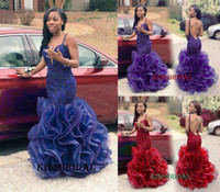 african organza lace - Rachel Allan Royal Blue Mermaid Prom Dresses Sexy Long African V Neck Backless Lace Appliques Ruffles Organza Floor length Party Gowns