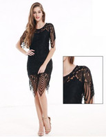 Wholesale The new Europe and the United States women s round collar short sleeve summer package hip skirt lace dress sexy backless cultivate