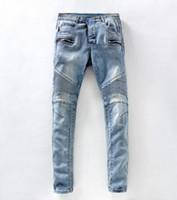 Wholesale New High quality brand balmain men s jeans elastic jeans for men plus size slim denim trousers