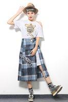 apron shirt - Summer new cartoon Avatar strapless short sleeved white T shirt split skirt piece fitted female loose Plaid Apron