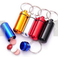 Wholesale Mini Keychain Round Pill Bottle Travel Aluminum Portable Pill Box Keyring Tablet Box Container for Home Storage Organization