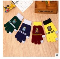 Wholesale Badge Gloves Winter Knitted Harry Potter Touch Screen gloves Cosplay Warm Gloves Unisex Christmas Gifts Warmer Gloves H19