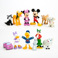 Cheap 12Sets lot Mickey Figures Minnie Mouse Donald Duck Daisy Duck PVC Figure Toys Dolls Kids Great Gifts Retail 3-5.5cm