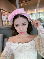 Wholesale Korean hair headdress flannel headband bow makeup wash hair band