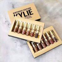Wholesale NEW metal Kylie Lip Kit by kylie jenner Lipstick Kylie Lip Gloss Birthday Edition liquid lipstick Matte colors lipliner Make up Cosmetics