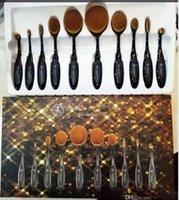 Wholesale 10 New Professional Soft Oval Toothbrush Makeup Brush Sets Foundation Brushes Cream Contour Powder Blush Lip Concealer Brush DHL