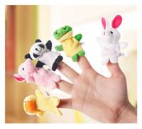 al por mayor ranas juguetes-Baby Finger Puppets juguetes de peluche Talking Props Rana de vaca conejo Elefante Ratón Panda Duck Oso de perro Hippo Animales de peluche Familia Juego Regalo de Navidad