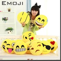 Wholesale 12 Styles Diameter cm Cushions Cute Lovely Emoji Smiley Pillows Cartoon Cushion Pillows Yellow Round Pillow Stuffed Plush Toy