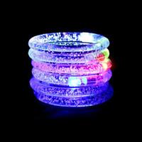 Wholesale LED bracelet light up flashing Glowing bracelet Blinking Crystal bracelet Party Disco Halloween Christmas Gift Wristband Luminous Toys