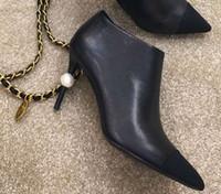 al por mayor de cuero de moda-Fashionville * 34 u680 negro / amarillento genuino mujeres botas de cuero de tacón de perlas de tobillo c moda de marca de moda de otoño