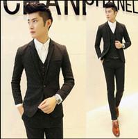 Wholesale Korean Pants For Mens - Hot Fashion Mens Sequin Tuxedo Slim Fit Custom Korean Suit 3 Piece With Vest Wedding Dress Suits For Men Black Grey M-XXL