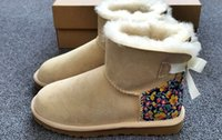 bailey flowers - 2016 new arrive Hot Women Mini Bailey Bow Liberty half boots snow Button boots for women winter boots waterproof