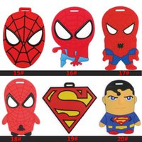 adress labels - 54 Style ID Tags Cartoon Spider Man Transformers Luggage Labels Travel Adress ID Card Case Bag Collectibles Keychain Key Rings Toys WX K35
