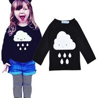 Wholesale 5pcs Kikikids Long Sleeve Children s T shirts Clouds Raindrop Pattern Tshirt Top For Kids Clothing Spring INS Fashion Boy Girl Clothes