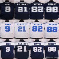 Wholesale Best NIK Stitched football Tony Romo Ezekiel Elliott Jason Witten Dez Bryant Blue White and thanksgiving blue elite Jerseys