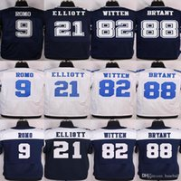 Wholesale Cheap Tony Romo Ezekiel Elliott Jason Witten Dez Bryant Stitched football Blue White and elite Jerseys