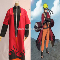 Wholesale Anime Naruto Shippuden Cosplay Costume Uzumaki Unisex Sage Red Cloak Cape long Robe Dust Coat Size S M L XL XXL
