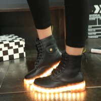 Wholesale Winter Lace up Fashion Leather ankle Boots LED Black Light Up Shoes Luminous Women USB Charger Colorful Glowing Casual Knight Western Martin
