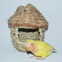 Wholesale Traw Braid Breeding Birds Nest Parrot Cozy Warm With Artificial Woven Hole Opening Bird Nest Pet Toys Natural Handmade Supplies