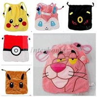 ball business - Pikachu Plush Drawstring Bags Poke Ball Pocket Coin Purses Monster Poke Change Bag Plush Pouch Coin Bag Mini Poke Go Storage Bag B637