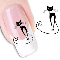Wholesale 1pcs style watermark D Design cute DIY black cat Tip Nail Art nail sticker nails Decal nail tools