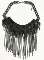 aldo necklace - Large aldo chain statement necklace Black chain sead beads Swag Statement Necklace black fabric hand sewing beads tassel necklace prebeauty