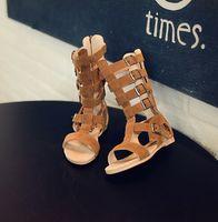 Wholesale Girls Gladiator Sandals Summer High Length Girls Flats Kids Beach Shoes Real Leather Brown Black Children Summer Boots