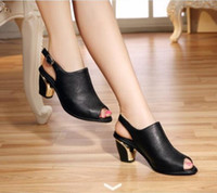 Wholesale Chunky Sandals Girls - Summer New Women Fashion Roman Style High-heeled Sandals Ladies Sexy Peep-toe Slippers Girls Lovely Chunky Heels Fish Head Shoes