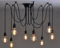 Wholesale Suspension Luminaire Light New Net Retro Classic Chandelier E27 Spider Lamp Bulb Holder Group Edison Diy Lighting Lamps Messenger Wire