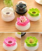 Wholesale Fashion Hot With Lid Lotus Cotton swab box lotus cotton bud holder base room decorate Lotus Toothpicks holder Toothpick case