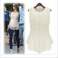 Wholesale Brand Lace T Shirts Women New O Neck Sleeveless Summer Sexy Slim Fitness High Quality Brand Style Fashion Clothing Casual Tops