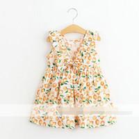 Cheap 2016 New Style Baby Girls Top Tees Print Orange Fruit Ruffles Shirt Big Bow V Backless Sleeveless Tees