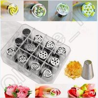 Wholesale 50set CCA4139 High Quality set Russian Tulip Stainless Steel Icing Piping Nozzles Tips Tool Boxed Cake Decorating Box Set DIY Tool