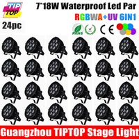 auto rentals - 24pcs No Flicker W RGBWA UV in1 Led waterproof par Can Wedding Light Equipment Rental Outdoor Led Wall Washer Light