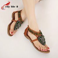 american national rubber - Beach Summer Sandals European And American National Roman Bohemia Shoes Women Beaded Flip Flops Students Gladiator Sandals