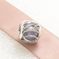 autumn seasonal flowers - New High quality Autumn Interwining Radiance Charm Sterling Silver Bead with Purple Cz Fits European Jewelry Bracelets Necklace