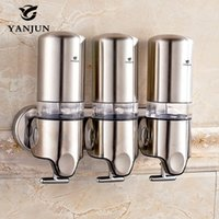 Wholesale Yanjun triple Liquid Soap Dispenser Wall mounted Shampoo Shower Gel Hand Soap Container Bathroom