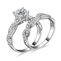 Wholesale Women s Rhinestone Engagement Wedding Ring Set DJQ