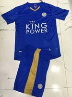 home kit - 2015 Leicester City home blue Soccer Jerseys Away black football uniform men s short sleeve soccer kits DRINKWATER MAHREZ ULLOA VARDY