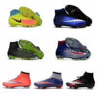 Wholesale Kids Football Soccer Shoes Mercurial Superfly V FG CR7 Children Mens Women Soccer Cleats For Boys Magista Youth Cristiano Ronaldo Original