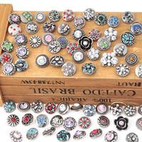 al por mayor botones de diamantes de imitación 12mm-NOOSA 12 mm de jengibre complemento de joyería de estilo de la mezcla de mini cristal de diamante de imitación de botón trozos Noosa broches para las pulseras de alta calidad